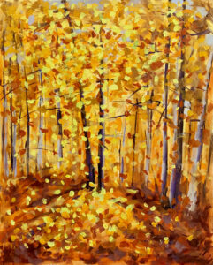 Yellow and orange autumn leaves with expressive brush marks by Stephanie Thompson