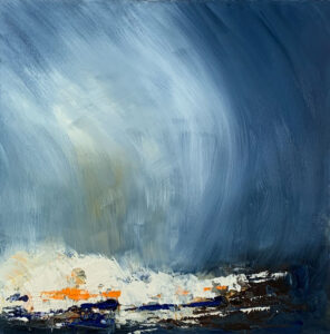 a painting of winter seas with blue and orange